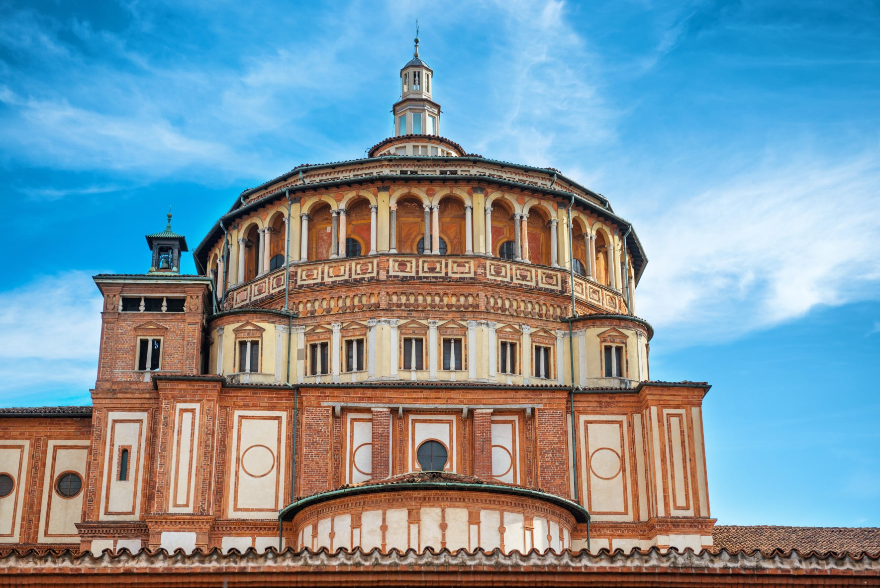 Church of Holy Mary of Grace- Chiesa di Santa Maria delle Grazie, 1497, Milan, Italy, home of the famous Cenacolo from Leonardo da Vinci.