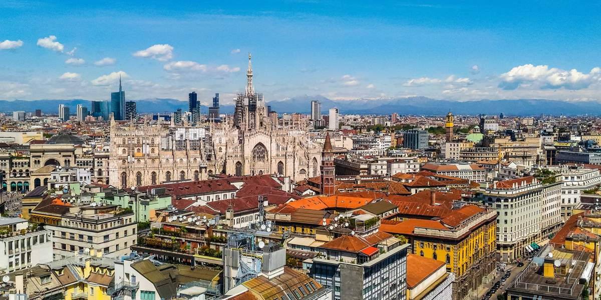 High dynamic range (HDR) Aerial view of the city of Milan, Italy