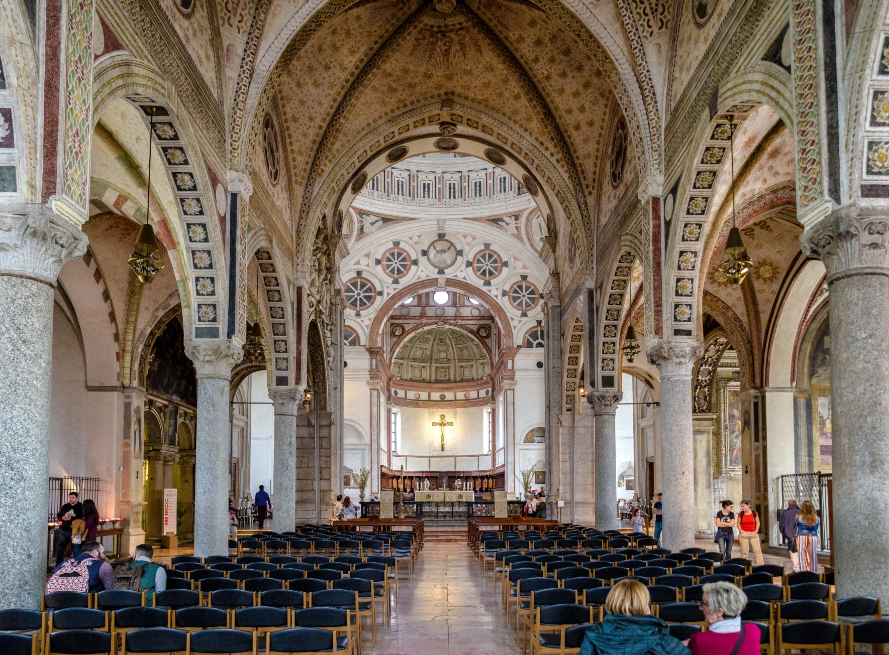 Interior of Church Santa Maria delle Grazie on April 14, 2018 in Milan